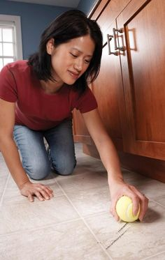 """Scuff Mark Eraser - Clean off shoe scuff marks from vinyl flooring with a clean, dry tennis ball. A light rub and heel marks are """"erased."""" Get more ingenious cleaning tips like this one.Get more ingenious cleaning tips like this one Car Cleaning, Deep Cleaning, Cleaning Hacks, Sweat Stains, Remove Stains, Clean Baking Pans, Sparkling Clean, Stainless Steel Sinks, Professional Cleaning"""