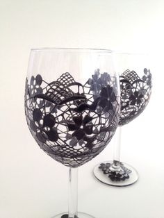 Pair of Black Lace wine glasses. £35.00, via Etsy.