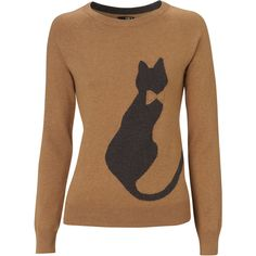 This features a cat silhouette complete with bow detail. Made from a super soft cotton mix, it is available in a camel shade. This quirky knit w…