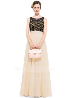 A-Line/Princess Scoop Neck Floor-Length Chiffon Lace Bridesmaid Dress With Ruffle (007051383)