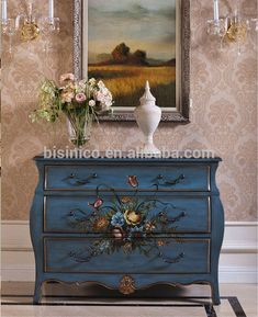 Decorative Hand Painted Chest Of Drawers