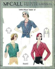 1930s Ladies Jackets In Three Styles Sewing Pattern - McCall #6905