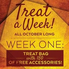 October's Treat A Week Promotion!! Each week of October, if you enroll 2 new consultants within that week, you will qualify for the Treat of the Week!   A new Treat is announced every Monday morning!!   To make a month of treats even sweeter, anyone who has enrolled 8 or more new consultants by the end of the month will receive a $500 Gift Card to their favorite clothing store.  Let's Celebrate October with a month full of fun!! Contact me and let's get you started today.
