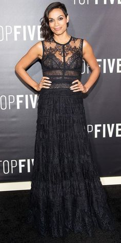 Look of the Day - December 06, 2014 - Rosario Dawson in Elie Saab from #InStyle