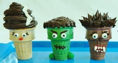 Creepy Cupcake Cones Colored ice cream cones, cake mix, frosting, and assorted candies turn simple cupcake cones into the Bride of Frankenstein, Frankenstein's monster, and the Wolfman. Get the full instructions here. Source: Kitchen Fun With My Three Sons