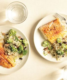 Broccoli-Quinoa Pilaf, and spiced cod too, but I'm pinning for the quinoa.