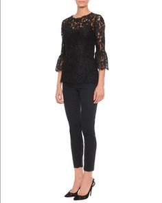 Floral-Lace Bell-Cuff Top & High-Waisted Stretch-Wool Pants by Dolce & Gabbana at Neiman Marcus.