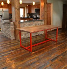 Like the pop of color idea. Maybe even with the piping still? Dining Table x - Fire House Red Frame / Solid Walnut Table Top - Includes Delivery Dining Furniture, New Furniture, Furniture Showroom, Apartment Furniture, Dining Room Sets, Dining Room Table, Walnut Table Top, Hardwood Table, Timber Table
