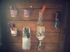 Recycled upcycled milk bottles etc .very useful :) Plastic bottles and yoghurt tubs turned into tool storage. Great idea for a tidy and organised shed! Shed Storage, Tool Storage, Diy Storage, Storage Ideas, Allotment Shed, Plastic Bottles, Milk Bottles, Backyard Projects, Diy Projects