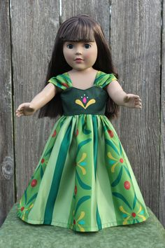 Anna from Frozen Green Dress, fits American Doll and Dolly and Me, Our Generation Doll and other 18 inch dolls