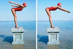 Jerry Hall in red swimsuit (Vogue, 1975). Photos by Norman Parkinson