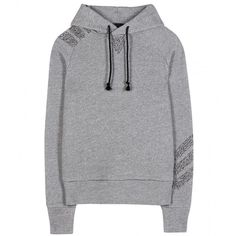 Y-3 Cotton Hoodie ($305) ❤ liked on Polyvore featuring tops, hoodies, grey, gray hoodie, cotton hoodies, y3 hoodie, grey hoodies and hooded sweatshirt