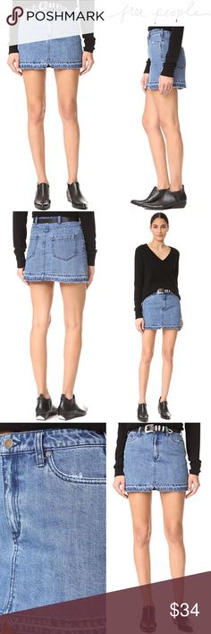 """Free People Step Up Denim Mini Skirt Light Wash A raw, undone hem lends a deconstructed element to this classic Free People miniskirt. 5-pocket styling. Button closure and zip fly. * Fabric: Denim. * 100% cotton. * 15"""" long  * SIZE 4  * GOOD USED CONDITION - ONE SMALL HOLE ALONG BACK POCKET - CAN BE PATCHED Free People Skirts Mini"""