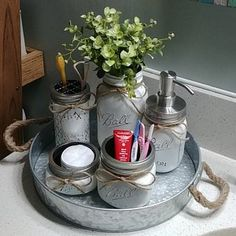 Rustic Bathroom Decor Mason Jar Bathroom Set Mason Jar Decor Bathroom Set Rustic Decor Bathroom Storage Mason Jar Gray Ellise M. Pot Mason Diy, Rustic Mason Jars, Mason Jar Crafts, Mason Jar Bathroom, Bathroom Sets, Bathroom Storage, Bathroom Mirrors, Bathroom Organization, Bathroom Cabinets