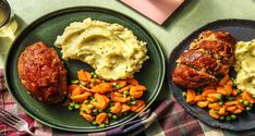 Veggie Meatloaf Recipe   HelloFresh Veggie Meatloaf, Meatloaf Recipes, Meat Recipes, Cooking Recipes, Honey Glazed Carrots, Yellow Potatoes, Hello Fresh Recipes