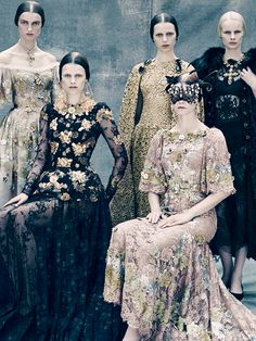 Kat Chadwick, Kayley Chabot, Esther Heesch, Irina Kravchenko and Irene Hiemstra (wearing Dolce & Gabbana Alta Moda) by Paolo Roversi for Vogue Italia's Couture Supplement September 2013