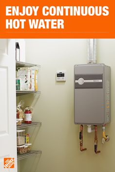 Tankless Gas Water Heaters - Tankless Water Heaters - The Home Depot Heating And Plumbing, Home Gadgets, Home Upgrades, Home Repairs, Water Heaters, Pool Heater, Tiny House Design, Home Depot, Home Projects
