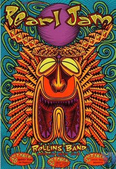 Pearl Jam Vintage Concert Poster from Warfield Theatre, Oct 1993 at Wolfgang's - Re-Wilding Pearl Jam Posters, Tour Posters, Music Posters, Event Posters, Graffiti, Rock Band Posters, Vintage Concert Posters, Vintage Posters, Music Artwork