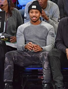 Michael B Jordan at Knicks Game