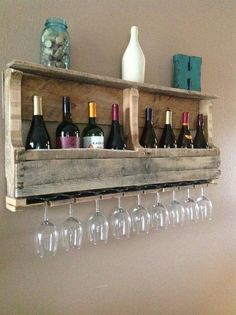 @Ginny Coleman - you should add a piece of wood to the bottom of that wine rack u bought to hold the wine glasses like this!!