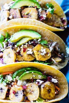 Crock Pot Cuban Pork Tacos with fried plantains! A NEW gluten free recipe you're gonna LOVE! These crock pot tacos are EASY to make, light, citrusy, and sweetened with a plantain cabbage topping.