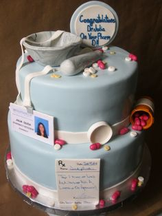 """Pharmacy themed cake with gumpaste mortar and pestle, pill bottle, prescription pad, and id. All the """"pills"""" were made out of fondant and candy. Pharmacy Cake, Pharmacy School, Pharmacy Humor, Nursing Graduation Cakes, Graduation Ideas, Medical Cake, Bottle Cake, Retirement Cakes, Occasion Cakes"""