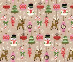 Vintage Ornaments Cream fabric by designs_by_lisa_k on Spoonflower - custom fabric