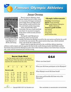 This worksheet introduces students to Jesse Owens, whose successes in the 1938 Olympics made history and paved the way for African-Americans in all sports and fields. Jim Thorpe, Jesse Owens, Social Studies Worksheets, Educational Activities For Kids, History Projects, Student Reading, Early Education, African American History, Reading Skills