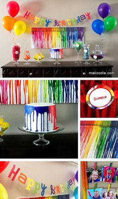 A rainbow art themed birthday party. This is a super fun idea, especially if the party needs to be indoors. The birthday cake is amazing! I want to learn how to spread the frosting so it drips like that.