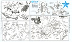 Vehicle board featuring Main Starship and smaller ship and mecha transformation mode.