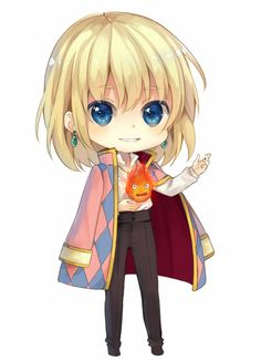 Kawaii Howl's Moving Castle Howl & Calcifer chibi
