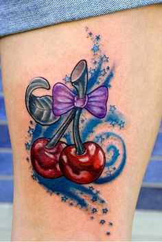 Pretty Bow Cherry Tattoo. For more visit www.tattooenigma.com