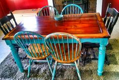 DIY beautiful table refinished from ugly white tile top table.