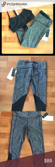 "Pace rival crops Brand new, ""line up black white"" pattern. Back zipper waist band pocket, side pockets. Soft mesh panels for breathability. Perfect for interim weather and gym! lululemon athletica Pants"