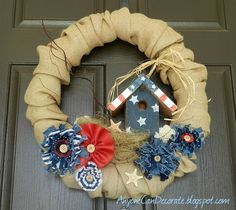 Burlap & Birdhouse Patriotic Wreath  also from a pool noodle! so awesome!