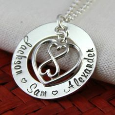 Infinity Mom Necklace Infinite Heart Customized Names by RememberMyAngel, $68.00