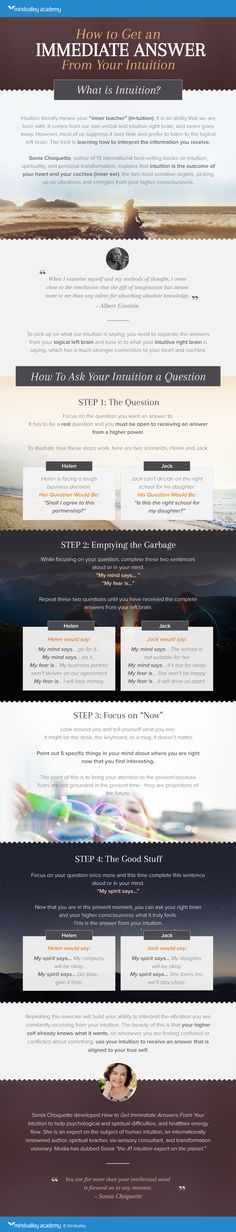 How to Get an Immediate Answer from Your Intuition. A Beautiful Infographic from MindValley.com and Sonia Choquette.