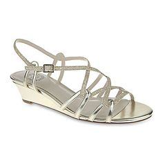 jcp i miller fair metallic strappy wedge sandals