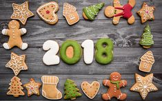Download wallpapers Happy New Year, 2018 concept, cookies, sweets, pastries, New Year