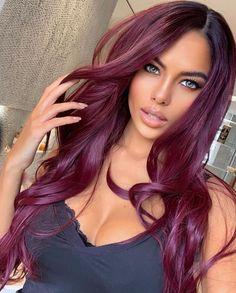 Hair Color Highlights, Red Hair Color, Cool Hair Color, Black Hair With Color, Burgundy Hair With Highlights, Cherry Hair Colors, Red Hair Looks, Burgundy Red Hair, Purple Hair