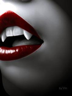 illustration art lips fangs dracula