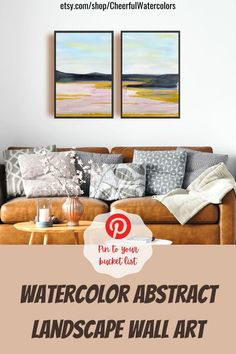This watercolor print set of 2 pieces featuring an abstract landscape will become a great addition to your living room, bedroom, dining room or even office. These water color prints have an abstract but not flashy design in soothing colors with the lack of small details, which allows them organically fit into almost any interior and not distract too much attention. #watercolorprint #watercolorwallart #watercolorpainting #abstractlandscape #printablewallart #watercolorlandscape Landscape Walls, Landscape Prints, Watercolor Landscape, Abstract Landscape, Watercolor Art Paintings, Watercolor Print, Above Bed Decor, Soothing Colors, Teen Girl Bedrooms