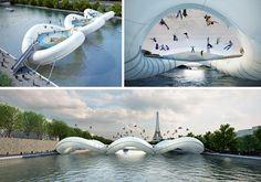 Ponte Trampolim sobre o Rio Sena em Paris