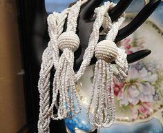 Art Deco Milk Glass Bead Crocheted Braided by PattysJewelryEtc