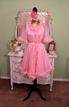 50s 60s Chiffon Candy Nightgown Set, 1950s Pink Sheer Peignoir, Ruffle Robe Set, Chic Shabby Nightie Set, Vintage Nightdress Set, Sz Sm / M by SownThreadsClothing on Etsy