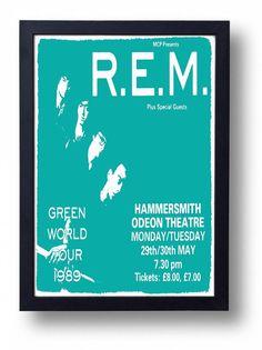 REM Framed Gig Poster Print by indieprints on Etsy, $20.00