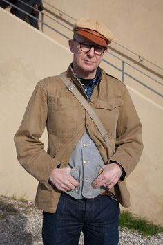9055b1369c3 More vintage workwear-inspired styling live from  Pitti Uomo WGSN street  shot