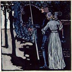 Kandinsky, Départ, grande version, 1903, gravure sur bois en couleurs, 30 x 29,6 cm, Paris, MNAM.