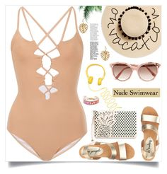 """Bare It All: Nude Swimwear"" by samra-bv ❤ liked on Polyvore featuring Suboo, August Hat, Victoria Beckham, Free People, Chloé, Rebecca Minkoff, The Sak and nudeswimwear"