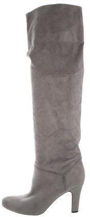 Grey vegan suede Stella McCartney knee boots with round toes and covered heels. Knee Boots, Heeled Boots, Vegan Boots, Stella Mccartney, Dust Bag, Heels, Bags, Women, Fashion